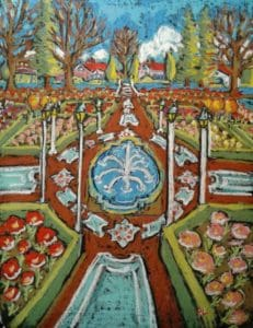 Painting by artist Paul Lockhart of Portland, Oregon, depicting the Peninsula Park Rose Garden in full bloom