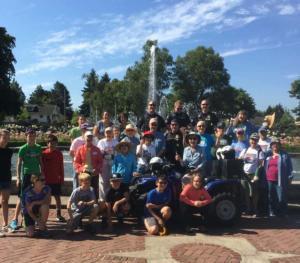 Big group of volunteers at Peninsula Park Rose Garden