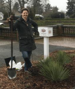 Volunteer planting in the new pollinator garden