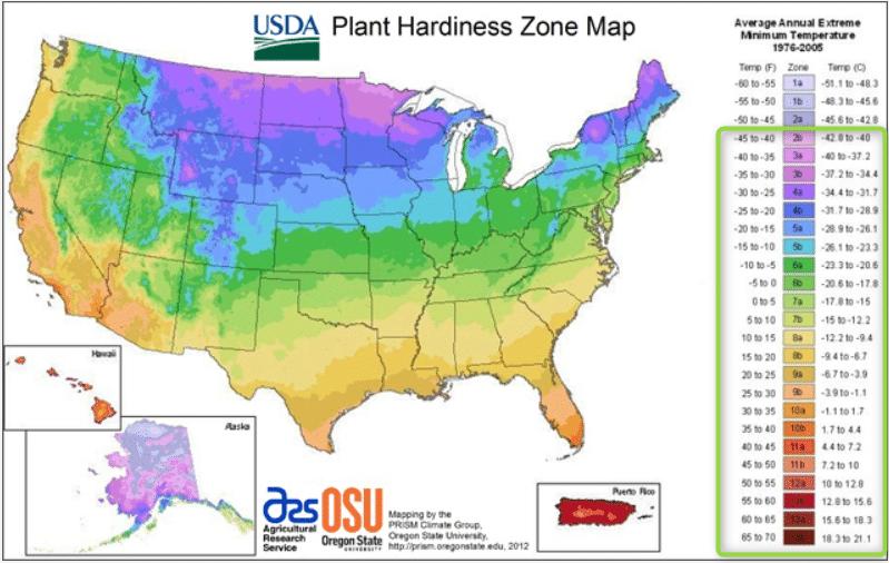USDA Gardening Zones